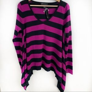 Women's INC Flare Sweater Purple and Black NWT L